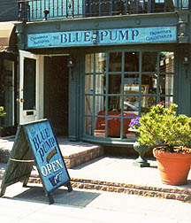 blue pump sandwich board