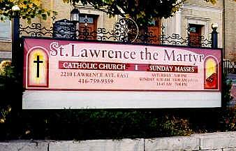 sign St. Lawerence The Martyr Church, Toronto